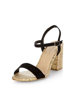 Black Suedette Contrast Cork Heeled Sandals  | New Look