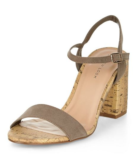 Light Brown Suedette Contrast Cork Heeled Sandals  | New Look
