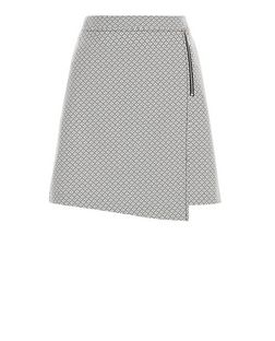 Monochrome Geo Jacquard Zip Wrap Front Mini Skirt  | New Look