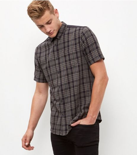 Grey Check Contrast Panel Short Sleeve Shirt  | New Look