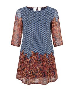 Blue Vanilla Navy Abstract Print Swing Dress | New Look