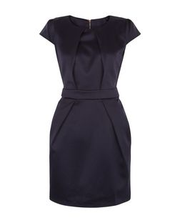 Blue Vanilla Navy Pleat Front Dress | New Look