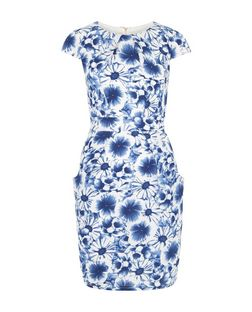 Blue Vanilla Blue Floral Print Cap Sleeve Dress | New Look