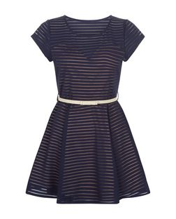 Mela Navy Stripe Belted Skater Dress | New Look
