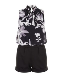 Blue Vanilla Black Floral Print Pussybow Playsuit | New Look
