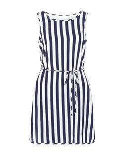 Mela White Stripe Tie Waist Dress | New Look