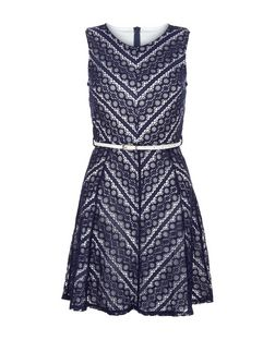 Mela Navy Chevron Print Belted Skater Dress | New Look