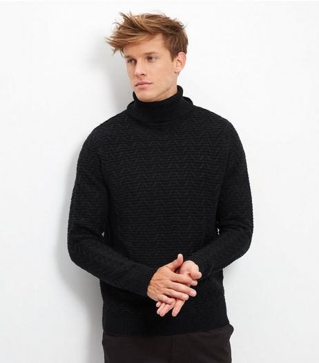 Black Longline Turtle Neck Jumper | New Look