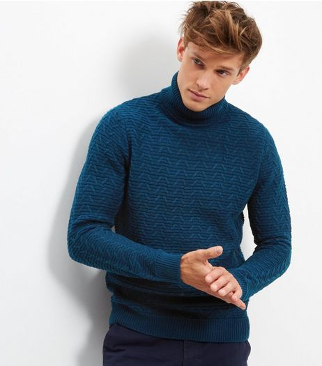Petrol Blue Longline Turtle Neck Jumper | New Look