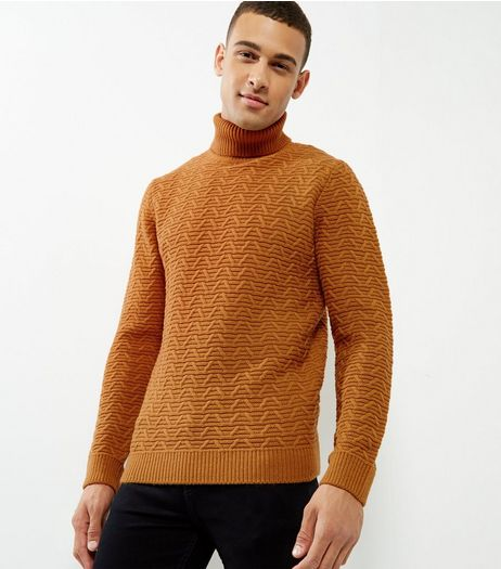 Yellow Ripple Cable Roll Neck Jumper | New Look