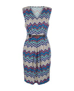 Mela Blue Zig Zag Print Sleeveless Dress | New Look