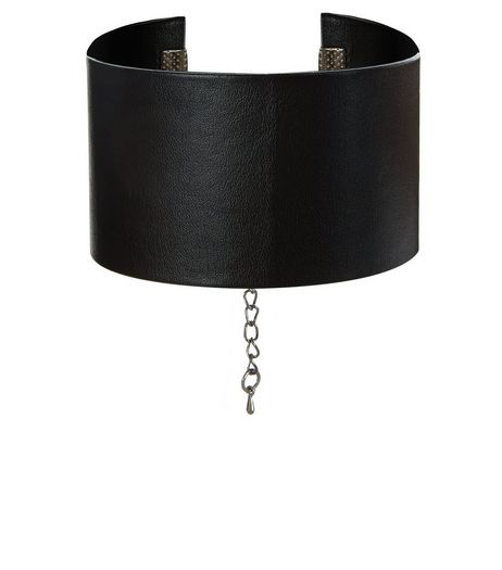 Black Leather-Look Wide Choker | New Look