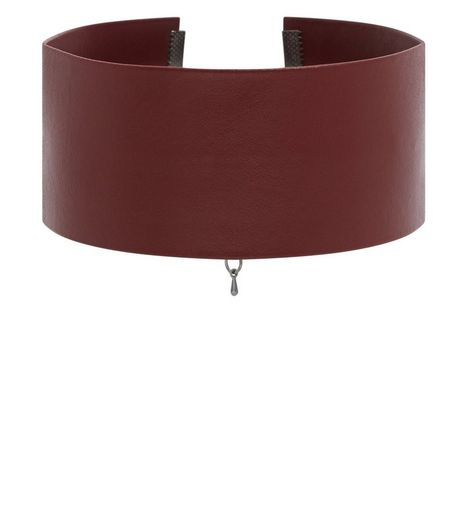 Burgundy Leather-Look Wide Choker | New Look