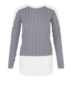 Blue Vanilla Blue Stripe Print Panel Top | New Look
