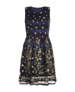Mela Navy Floral Print Sleeveless Dress | New Look