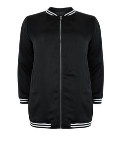 Curves Black Sateen Stripe Trim Longline Bomber Jacket  | New Look