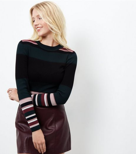 Black Stripe Long Sleeve Jumper  | New Look