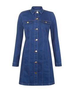 Anita and Green Navy Denim Long Sleeve Shirt Dress | New Look