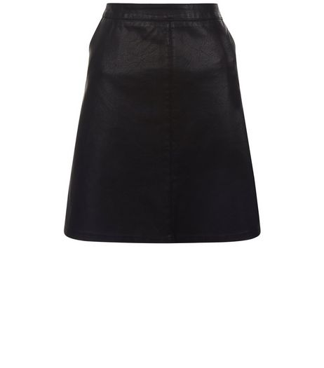 Anita and Green Black Leather-Look Skirt  | New Look