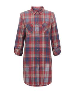 Anita and Green Red Check Longline Shirt | New Look