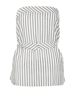White Stripe Belted Bandeau Top  | New Look
