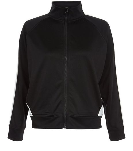 Teens Black Contrast Panel Bomber Jacket | New Look