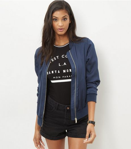 Navy Sateen Bomber Jacket  | New Look