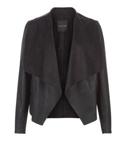 Black Leather-Look Suedette Panel Waterfall Jacket | New Look