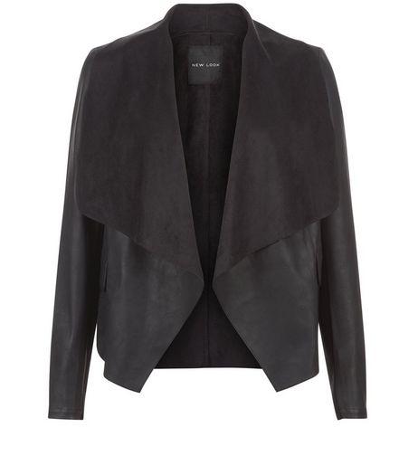 Veste en similicuir noir et empiècement en suédine effet cascade | New Look