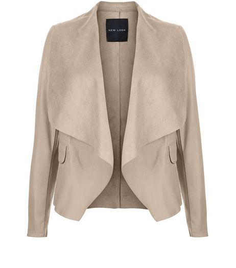 Mink Leather-Look Contrast Waterfall Jacket  | New Look