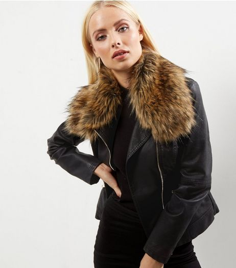 Black Leather-Look Faux Fur Trim Jacket | New Look