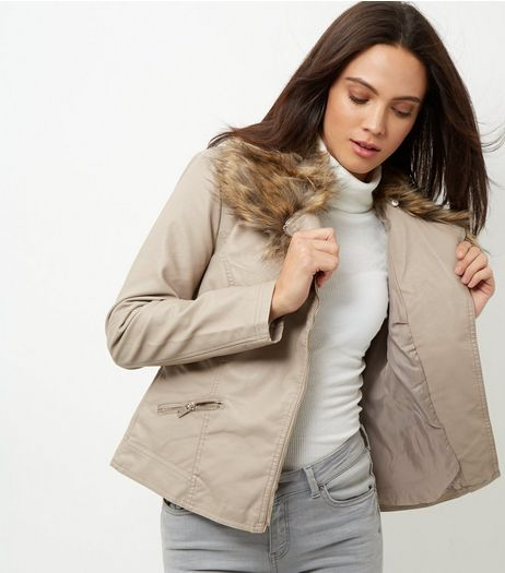 Mink Leather-Look Faux Fur Trim Jacket | New Look