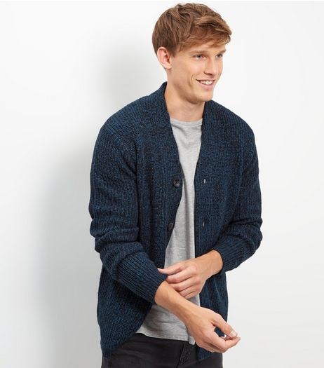 Dark Blue Knitted Double Pocket Cardigan | New Look