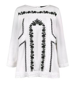 White Embroidered Crochet Trim Top  | New Look