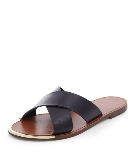 Black Cross Strap Sandals  | New Look