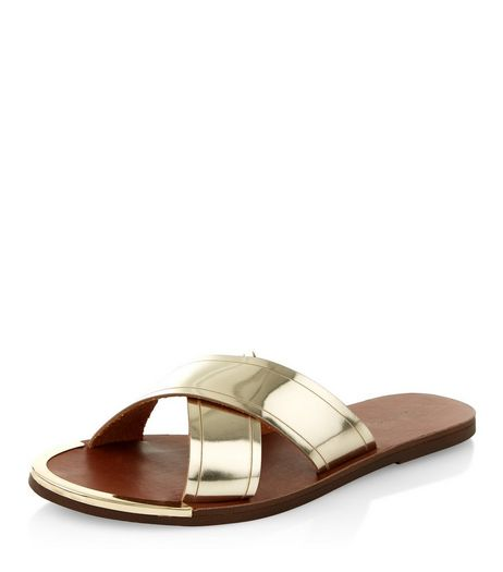 Gold Cross Strap Sandals  | New Look