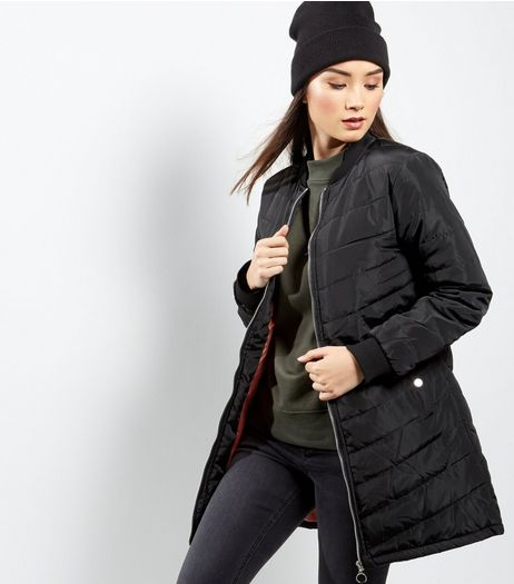 Black Quilted Longline Jacket | New Look