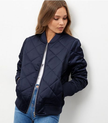 Navy Diamond Quilted Padded Bomber Jacket | New Look