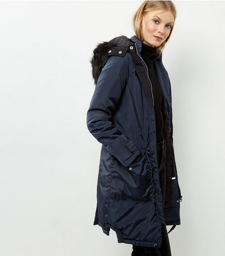 Navy Faux Fur Trim Hooded Parka | New Look