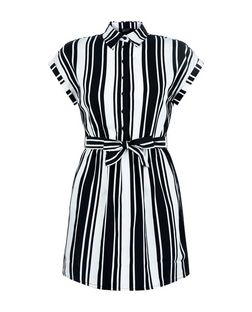 Teens White Stripe Belted Shirt Dress | New Look
