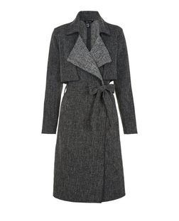 Black Textured Belted Waterfall Duster | New Look