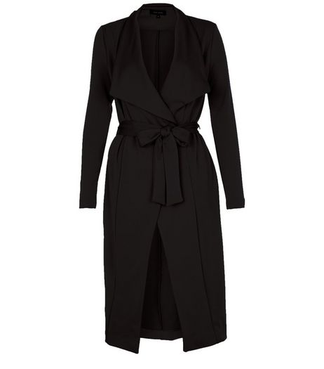 Black Split Side Waterfall Coat  | New Look