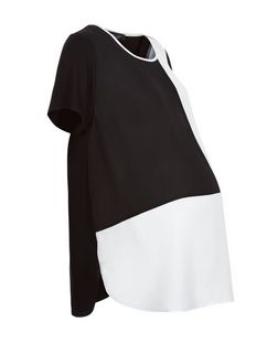Maternity Black Colour Block Short Sleeve T-Shirt | New Look