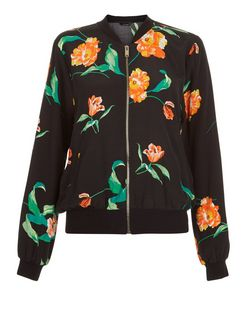 Black Tropical Print Bomber Jacket  | New Look