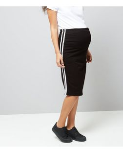 Maternity Black Over Bump Contrast Trim Skirt | New Look