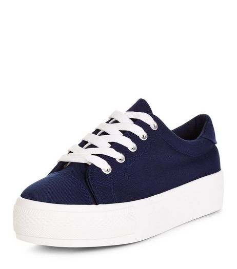 Teens Navy Flatform Lace Up Plimsolls | New Look