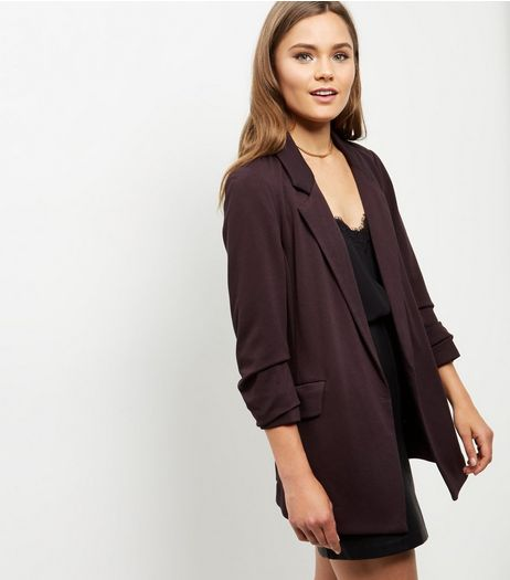 Burgundy Flecked Ruched Sleeve Blazer  | New Look