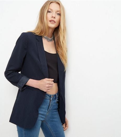 Navy Pinstripe Roll Sleeve Blazer  | New Look