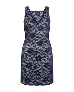 Mela Navy Lace Cowl Back Dress | New Look