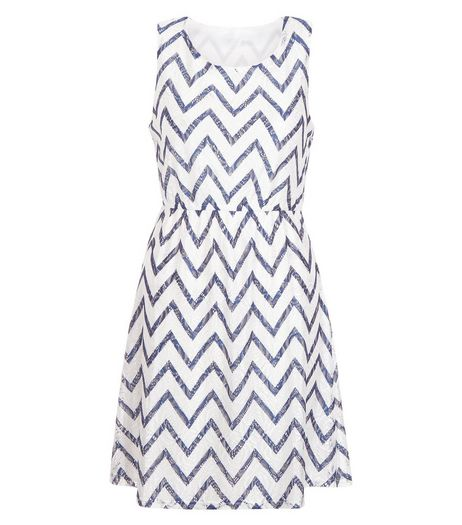 Mela White Zig Zag Print Dress | New Look